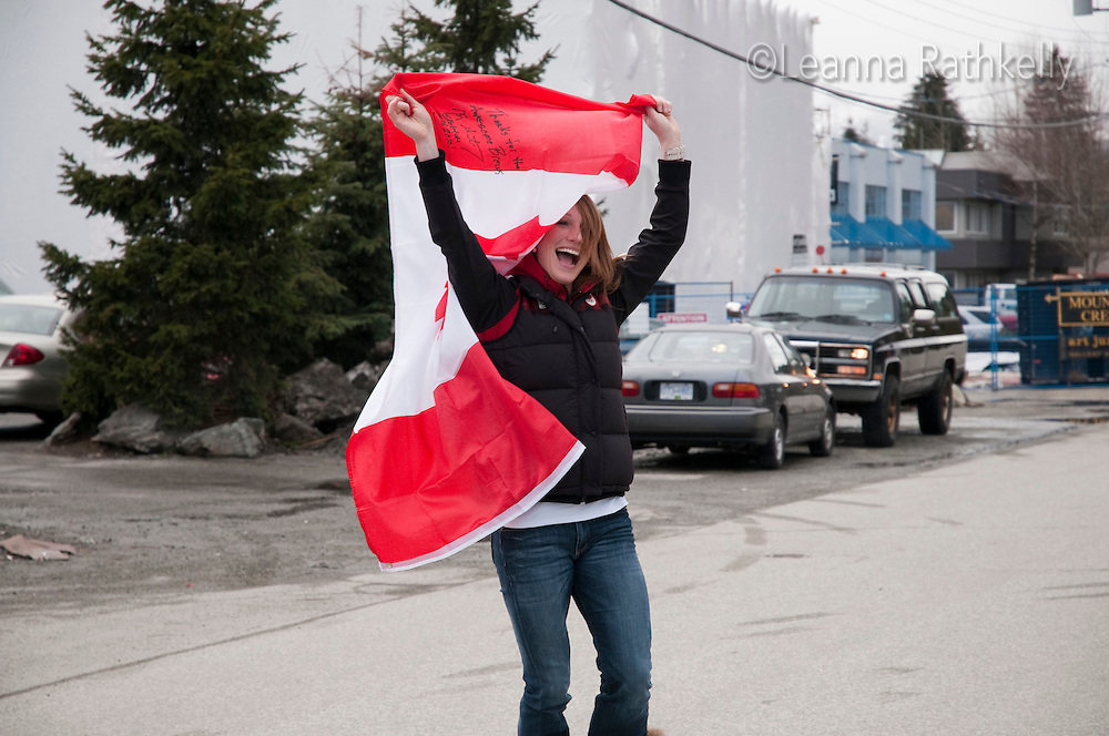 Gold medalist for bobsleigh Heather Moyse celebrates Canada after winning the gold with teammate Kaillie Humphries during the 2010 Olympic Winter Games in Whistler, BC, Canada.