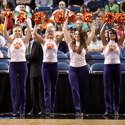 Mar 17, 2011; Tampa, FL, USA; Clemson Tigers cheerleader during the first half of the second round of the 2011 NCAA men's basketball tournament against the West Virginia Mountaineers at the St. Pete Times Forum.  Mandatory Credit: Derick E. Hingle