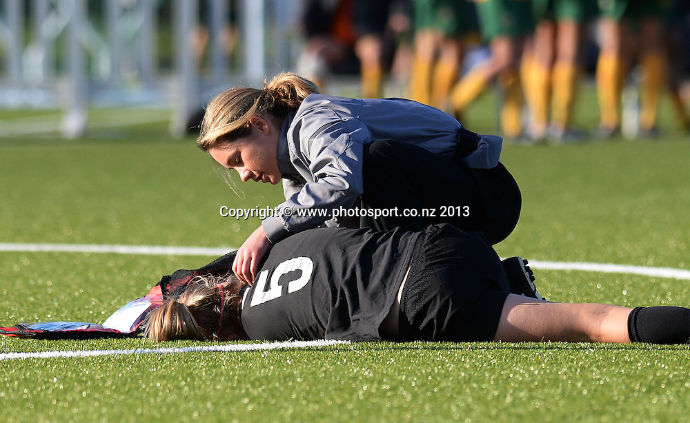 Injured captain Katie Bowen. New Zealand Junior Football Ferns v Australia Young Matildas. Women's U20 International. Match 3. Seddon Fields, Auckland. Monday 29 July 2013. Photo: Andrew Cornaga/www. Photosport.co.nz