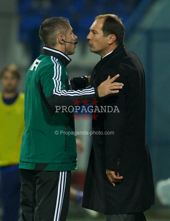 OSIJEK, CROATIA - Tuesday, October 16, 2012: Croatia's head coach Igor Stimac argues with the fourth official during the Brazil 2014 FIFA World Cup Qualifying Group A match against Wales at the Stadion Gradski Vrt. (Pic by David Rawcliffe/Propaganda)