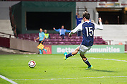 Scotland's Liam Henderson nets late on, only for the goal to be disallowed during Scotland Under-21 v FYR Macedonia,  UEFA Under 21 championship qualifier  at Tynecastle, Edinburgh. Photo: David Young<br /> <br />  - &copy; David Young - www.davidyoungphoto.co.uk - email: davidyoungphoto@gmail.com