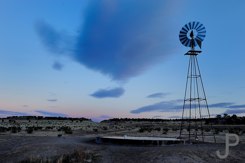 A stock tank at sunset in the Panhandle of Oklahoma near the New Mexico border