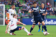 MELBOURNE, AUSTRALIA - APRIL 14: James Donachie (17) of the Victory is challenged by Andrew Hoole (7) of the Mariners during round 25 of the Hyundai A-League match between Melbourne Victory and Central Coast Mariners on April 14, 2019 at AAMI Park in Melbourne, Australia. (Photo by Speed Media/Icon Sportswire)