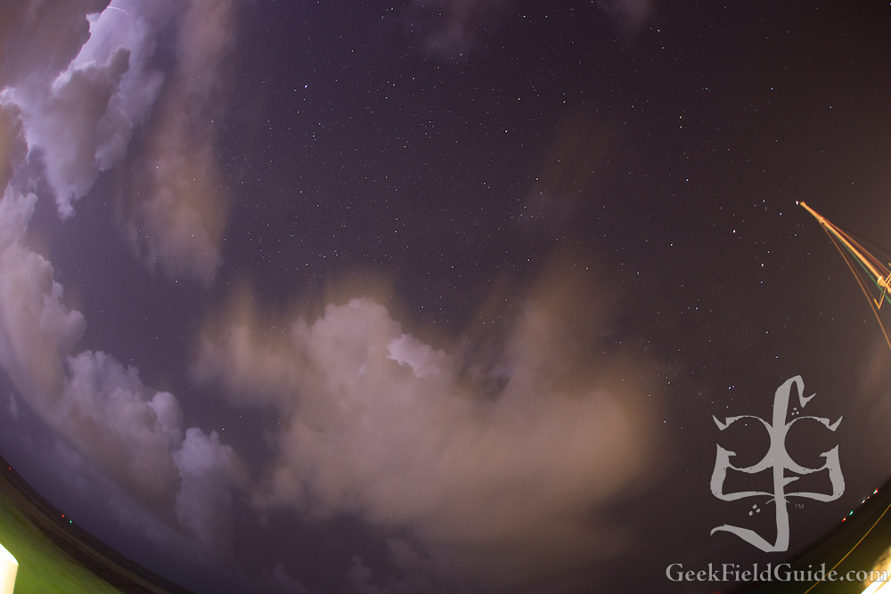 Lightning and clouds don't make for good astrophotography