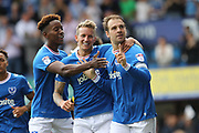 GOAL Brett Pitman celebrates scoring 1-0 Portsmouth during the EFL Sky Bet League 1 match between Portsmouth and Rochdale at Fratton Park, Portsmouth, England on 5 August 2017. Photo by Daniel Youngs.