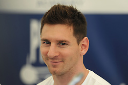 Argentina and Barcelona star Lionel Messi during a press conference to support Aspire Academy's 'Football Combating Malaria' project and unveil a new anti-mosquito bed net that will save thousands of lives in Africa.