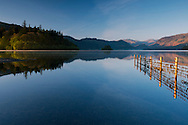 An early morning view of Derwent Water from Friar's Crag in The Lake District National Park, Cumbria, UK