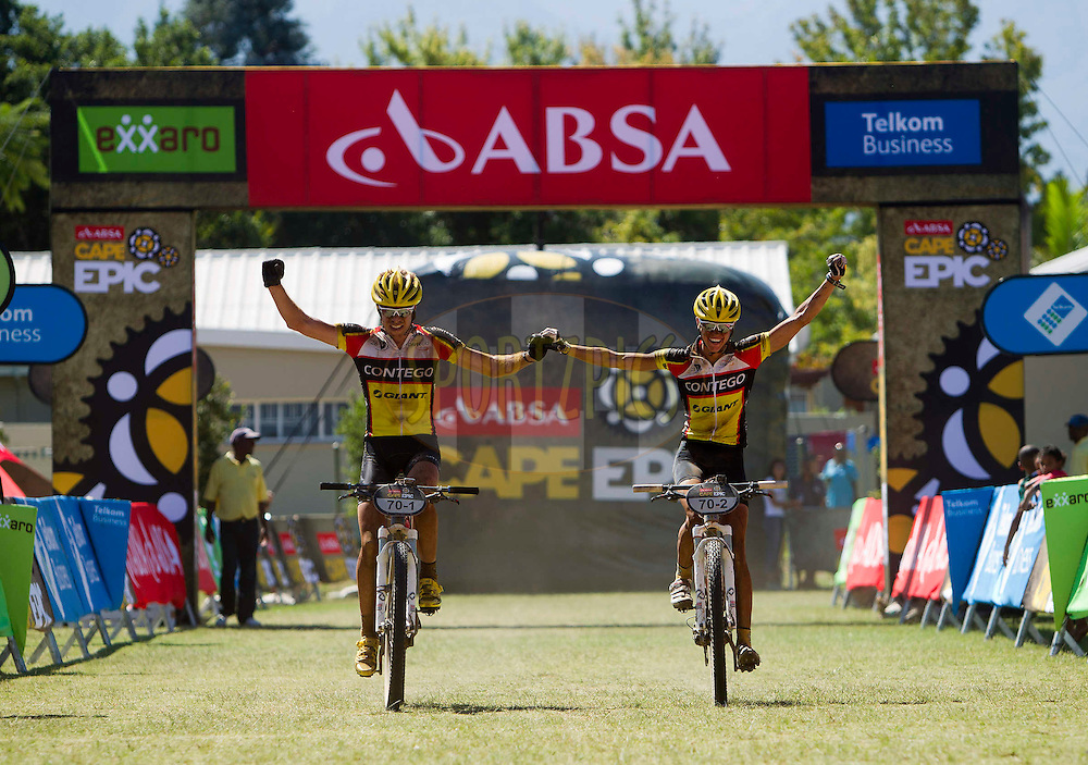 Eric and Arianne Kleinhans of Contego 28E take the stage win during stage 1 of the 2012 Absa Cape Epic Mountain Bike stage race held from Robertson Primary School in Robertson, South Africa on the 26 March 2012..Photo by Nick Muzik/Cape Epic/SPORTZPICS