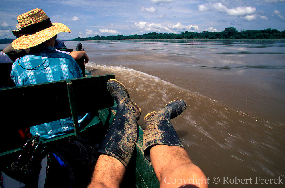 ECUADOR, AMAZON BASIN Napo River; naturalists in dugout