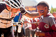 VILLIERSDORP, SOUTH AFRICA - UK rider Jonathan Stenson meets a UK supporter during stage two, of the Absa Cape Epic Mountain Bike Stage Race held in Villiersdorp on the 23 March 2009 in the Western Cape, South Africa..Photo by Sven Martin  /SPORTZPICS