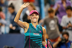 August 15, 2018 - Cincinnati, OH, U.S. - CINCINNATI, OH - AUGUST 15: Angelique Kerber (GER) smiles and waves to the crowd after winning her game against Anastasia Pavlyuchenkova (not pictured) during the Western & Southern Open at the Lindner Family Tennis Center in Mason, Ohio on August 15, 2018. (Photo by Adam Lacy/Icon Sportswire) (Credit Image: © Adam Lacy/Icon SMI via ZUMA Press)