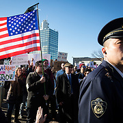 TOKYO, JAPAN - FEBRUARY 12 : American residents in Tokyo and other expatriates march with placards to protest against U.S. President Donald Trump's executive order, travel ban, banning travelers from seven predominantly Muslim countries from entering the United States, in Tokyo, Japan on Sunday, February 12, 2017. (Photo by Richard Atrero de Guzman/NUR Photo)