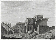 Engraving of Scottish landscapes and buildings from late eighteenth century,Monastery in Inch Colm, Scotland, UK , drawn by S Hooper