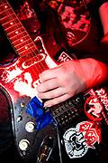 Close up of guitar at Municipal Waste gig, at Louvre. Prague, Czech Republic. 21 & 22/05/07