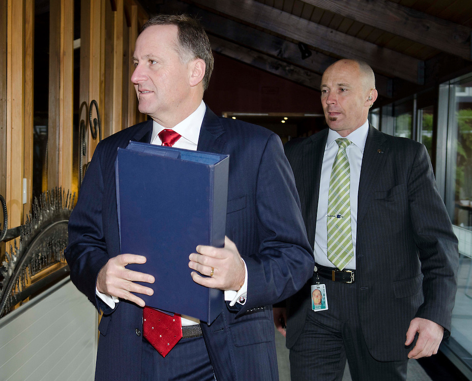 The Prime minister John Key at the National Party cabinet meeting Christchurch, New Zealand, Monday,  5 September 2011. Credit: SNPA / David Alexander.
