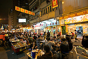 Kowloon. Temple Street Night Market. Open air restaurants.