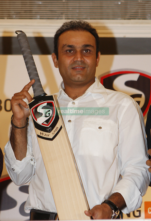 NEW DELHI, INDIA – NOVEMBER 06: Online shopping portal Jabong.com and cricket equipment maker SG Cricket on Tuesday, November 6 unveiled a range of cricket bats 'VS319'which will be sold exclusively through the former's online shopping network. Cricketer Virender Sehwag launched the cricket bat collection.(Photo by Yasbant Negi/India Today Group) *** Local Caption ***  Virender Sehwag (Credit Image: © India Today/ZUMAPRESS.com)