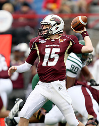Louisiana-Monroe Kolton Browning quarterback throws the ball against Ohio during the first quarter of the Independence Bowl NCAA college football game, Friday, Dec. 28, 2012, in Shreveport, La.