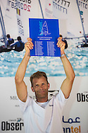 The Laser World Championships 2013 -  Standard. Mussanah Oman<br /> Robert Scheidt (BRA) shown here celebrating after winning the championships<br /> Credit: Lloyd Images.