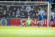Goal Norwich City forward Jordan Rhodes (11), on loan from Sheffield Wednesday, scores during the EFL Cup match between Wycombe Wanderers and Norwich City at Adams Park, High Wycombe, England on 25 September 2018.