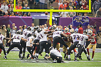 3 February 2013: Kicker (() Justin Tucker of the Baltimore Ravens kicks a field goal against the San Francisco 49ers during the second half of the Ravens 34-31 victory over the 49ers in Superbowl XLVII at the Mercedes-Benz Superdome in New Orleans, LA.