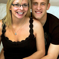 St Johnstone's Danny Grainger pictured with his fiance Heather Hope.<br /> see story by Gordon Bannerman Tel: 07729 865788<br /> Picture by Graeme Hart.<br /> Copyright Perthshire Picture Agency<br /> Tel: 01738 623350  Mobile: 07990 594431