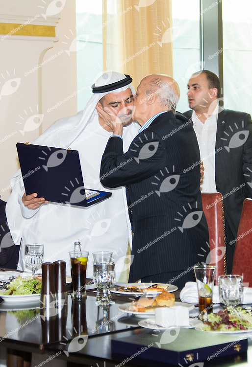 Ahmed Al Falasi Organising Committee Chairman (L)<br /> Julio C. Maglione	FINA President (R)<br /> Officials Lunch<br /> 4th FINA World Junior Swimming Championships<br /> Day04 Aug.29 Heats<br /> Dubai U.A.E. 26-31 August 2013<br /> Photo R.Pannunzi/Insidefoto/Deepbluemedia.eu