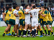 England player plough into a scuffle during the World Rugby U20 Championship  match England U20 -V- Australia U20 at The AJ Bell Stadium, Salford, Greater Manchester, England on June  15  2016, (Steve Flynn/Image of Sport)