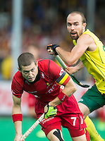 ANTWERP -   John-John  Dohmen of Belgium  with Matthew Swann (r) during the final Australia vs Belgium (1-0). WSP COPYRIGHT KOEN SUYK