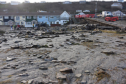© Licensed to London News Pictures. 03/01/2018 Porthleven, Cornwall. Storm Eleanor caused damage to the harbour wall at Portreath in Cornwall. The wall collapsed at 0500hrs at high tide. Photo credit : MARK HEMSWORTH/LNP