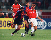 Fredrik Ljungberg (Arsenal) and Dani (Barcelona). Arsenal v Barcelona. The Amsterdam Tournament. Amsterdam Arena, 3/8/2000. Credit: Colorsport / Stuart MacFarlane.