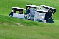 © Licensed to London News Pictures. 23/04/2016. Chandler's Cross, UK. President of The United States of America, BARAK OBAMA, playing golf with British prime minister DAVID CAMERON (both pictured left) at The Grove golf Course in Chandler's Cross, Hertfordshire. Photo credit: Ben Cawthra/LNP