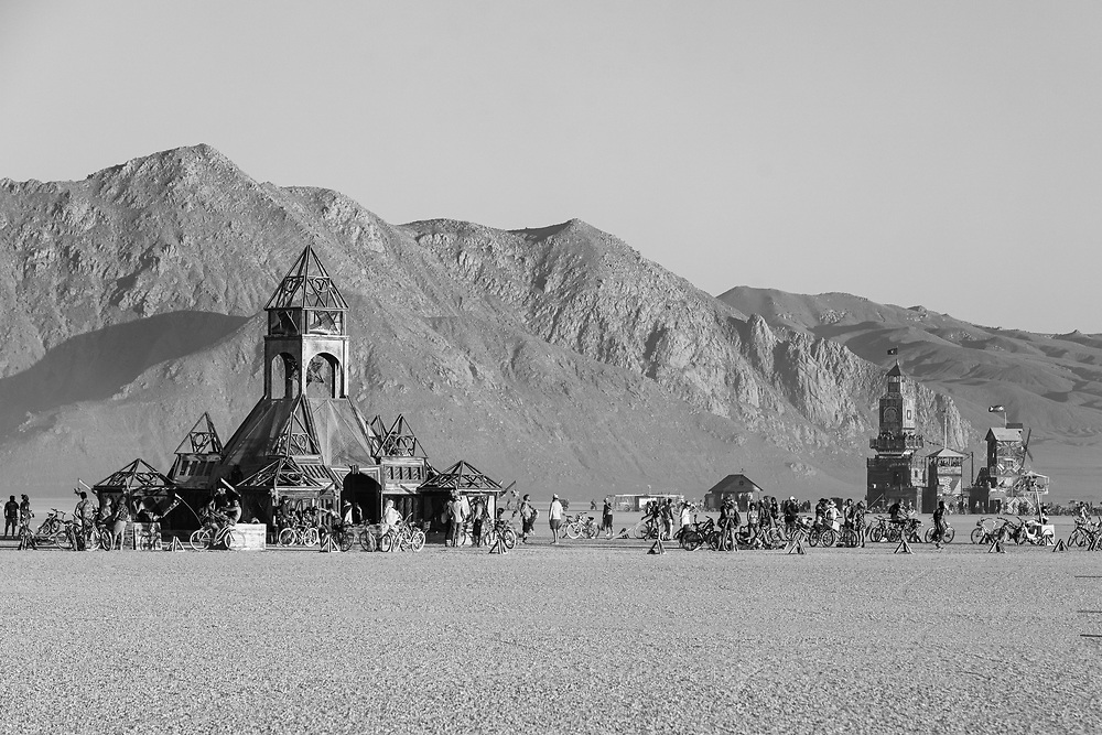 The Shrine of Sympathetic Resonance, the Folly, and Old Razorback in Black and White