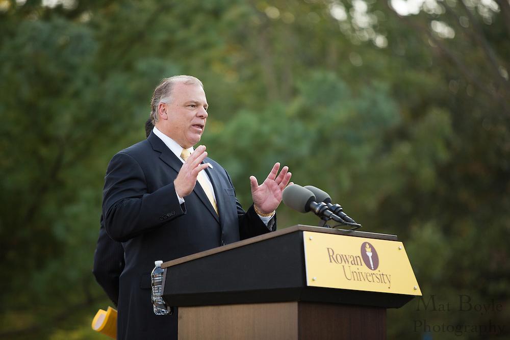 NJ State Senate President Steve Sweeney speaks at the Rowan Hall Expansion Groundbreaking at Rowan University  in Glassboro, NJ on Wednesday October 2, 2013. (photo / Mat Boyle)