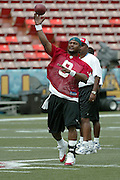 HONOLULU, HI - FEBRUARY 8:  Tennessee Titans quarterback Steve McNair #9 of the AFC practices prior to the 2004 NFL Pro Bowl game against the NFC at Aloha Stadium on February 8, 2004 in Honolulu, Hawaii. The NFC defeated the AFC 55-52. ©Paul Spinelli/SpinPhotos *** Local Caption *** Steve McNair