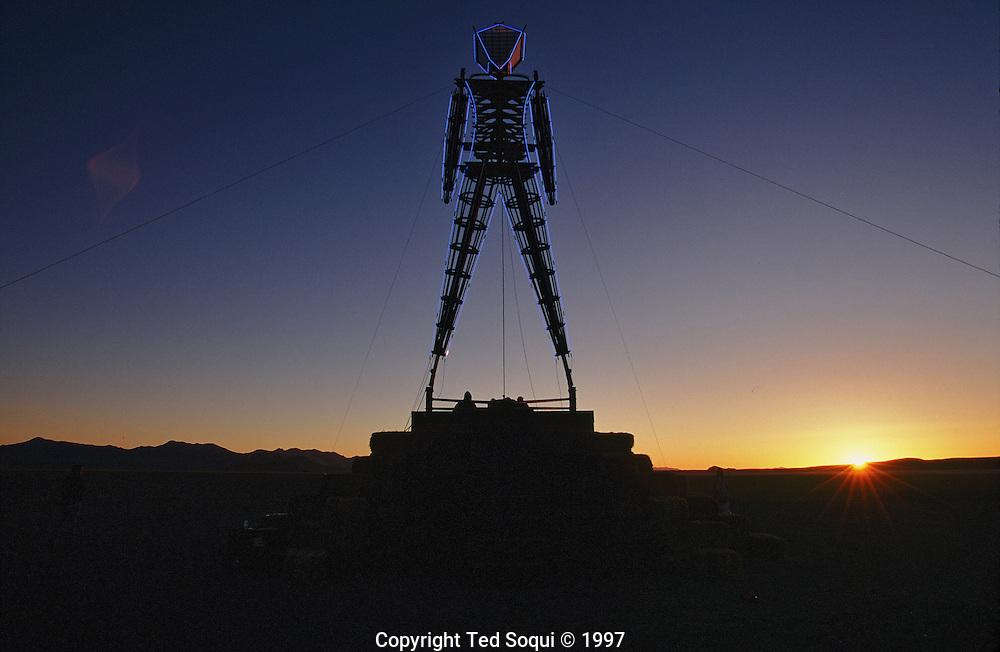 Sunrise at the Burningman festival on the playa near Black Rock in NE Nevada.