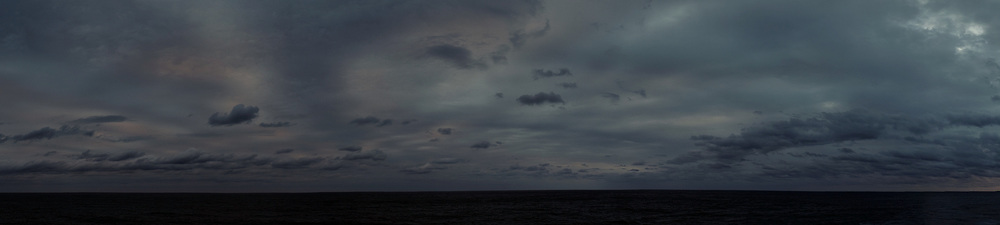 Dreary Dawn Panorama from the aft deck of the MV World Odyssey. Crossing the North Pacific Ocean from Hawaii to Japan. Fuji X-T1 camera and 23 mm f/1.4 lens (ISO 200, 23 mm, f/5.6, 1/125 sec).