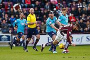 Hearts FC Forward Juanma Dalgado fouled during the Ladbrokes Scottish Premiership match between Heart of Midlothian and Hamilton Academical FC at Tynecastle Stadium, Gorgie, Scotland on 7 November 2015. Photo by Craig McAllister.