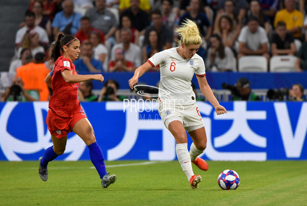 Alex Morgan of USA and Millie Bright of England fight for the ball during the FIFA Women's World Cup France 2019, semi-final football match between England and USA on July 2, 2019 at Stade de Lyon in Lyon, France - Photo Antoine Massinon / A2M Sport Consulting / ProSportsImages / DPPI