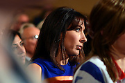 © Licensed to London News Pictures. 10/10/2012. Birmingham, UK Samantha Cameron wife of the British Prime Minister watches Prime Minister David Cameron delivers his keynote speech at The Conservative Party Conference at the ICC today 10th October 2012. Photo credit : Stephen Simpson/LNP