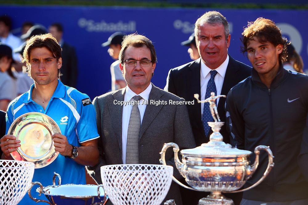 29.04.2012 Barelona, Spain. ATP Barcelona Open Banc Sabadell Final. Rafael Nadal beat David Ferrer 7-6 7-5. Picture show David Ferrer, Artur Mas, Albert Agusti, Rafa Nadal