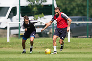 Dundee&rsquo;s Danny Williams and Dundee&rsquo;s Tom Hateley -  Dundee FC - Pre-season training at University Grounds, Riverside, Dundee, Photo: David Young<br /> <br />  - &copy; David Young - www.davidyoungphoto.co.uk - email: davidyoungphoto@gmail.com