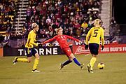 USA forward Emily Sonnett (14) passes the ball during an international friendly women's soccer match against Sweden, Thursday, Nov. 7, 2019, in Columbus, Ohio. USA defeated Sweden 3-2 . (Jason Whitman/Image of Sport)
