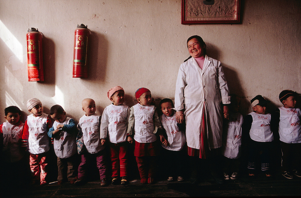 Daycare center in a silk factory in Khotan, Xinjiang Province, China.