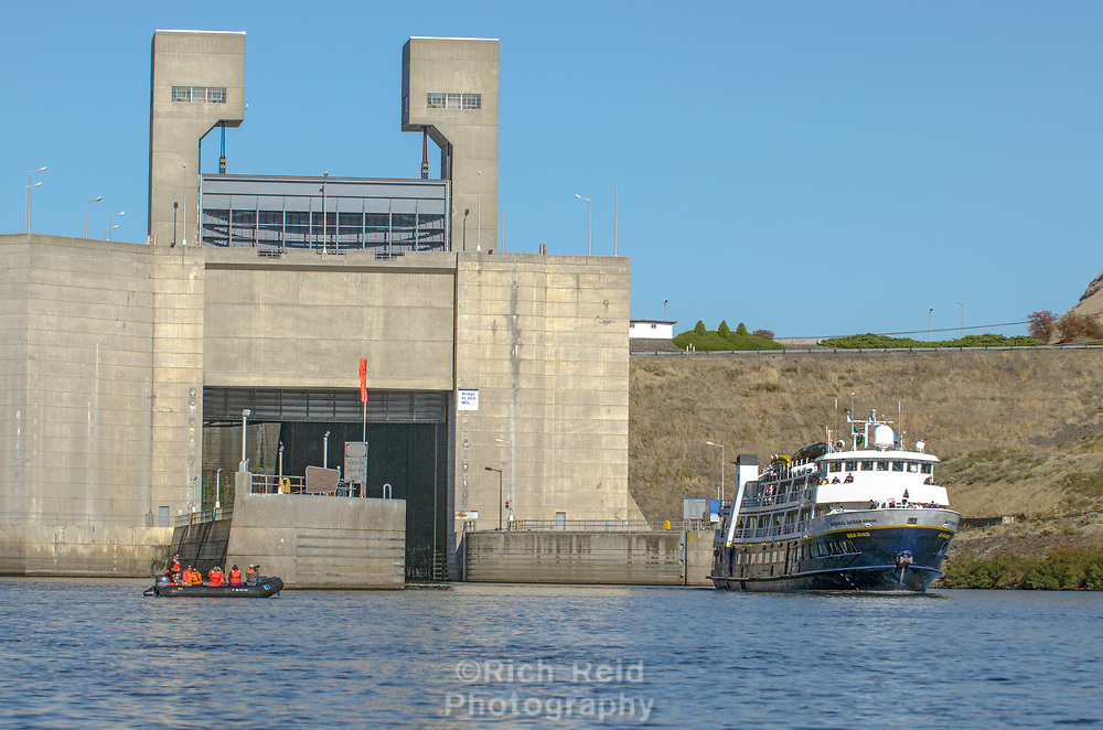 The National Geographic Sea Bird exiting Lower Monumental Dam and Lock on the Snake River in Southeastern Washington.