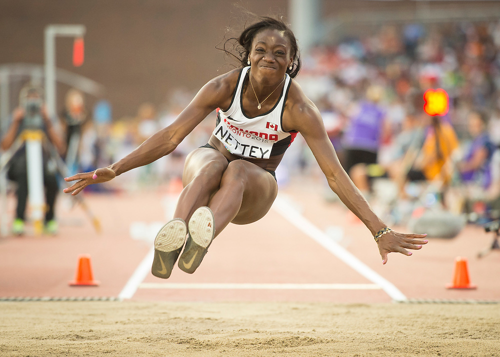 Women's long jump-finals-Christabel Nettey-Canada-gold medal Canada during athletics competition at the 2015 PanAm Games in Toronto.