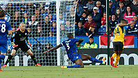Football - 2016/2017 Premier League - Leicester Ciity V Arsenal. <br /> <br /> Theo Walcott of Arsenal with a shot at the Leicester goal as Wes Morgan of Leicester City comes flying in to block at The King Power Stadium.<br /> <br /> COLORSPORT/DANIEL BEARHAM