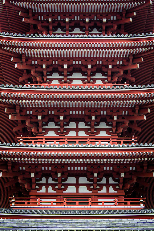 Architectural details of the roofs on Senso-ji temple and pagoda