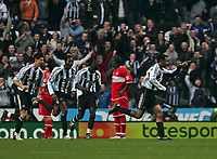 Photo: Andrew Unwin.<br />Newcastle United v Middlesbrough. The Barclays Premiership. 02/01/2006.<br />Newcastle's Nolberto Solano (R) leads the celebrations after scoring his team's first goal.