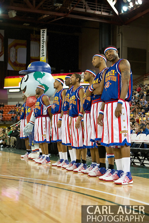 "April 30th, 2010 - Anchorage, Alaska:  Inflatable Globetrotter mascot ""Big G"" and the World Famous Harlem Globetrotters entertain the crowd at the Sullivan Arena."